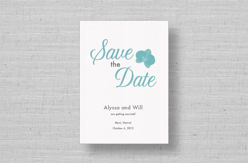 Modern Orchids save the dates-aqua