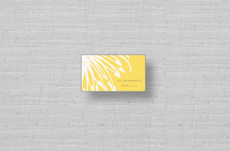 yellow white flower wedding placecards