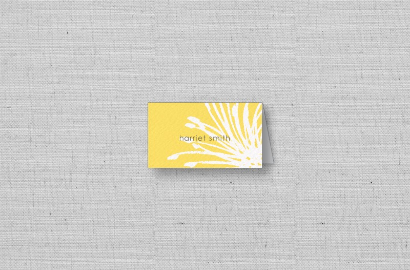 bright yellow modern wedding placecards