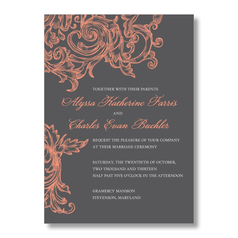 Superb Gray And Coral Wedding Invitations Amazing Pictures