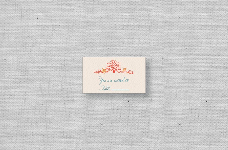 Coral Reef Wedding Escort Cards