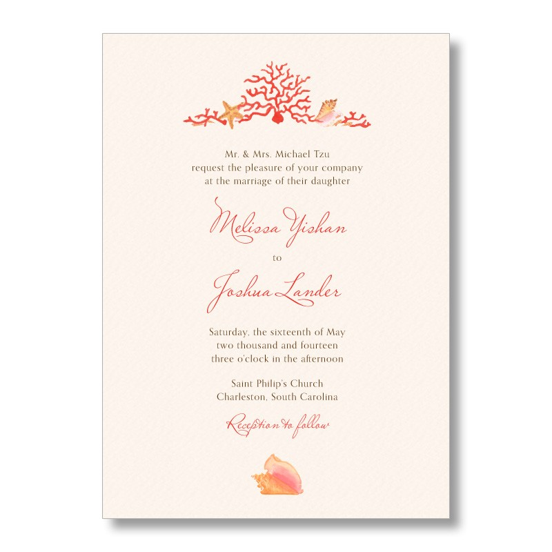 coral beach wedding invitations from marrymoment