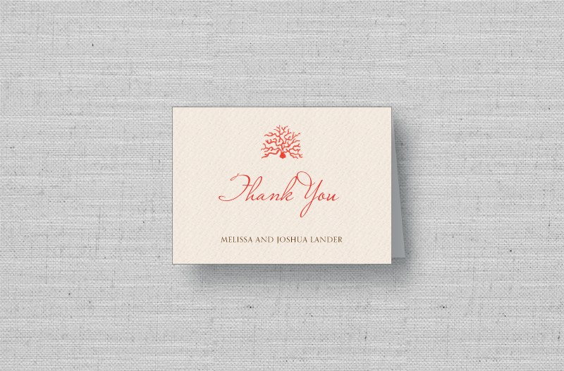 Coral Reef personalized wedding thank you cards