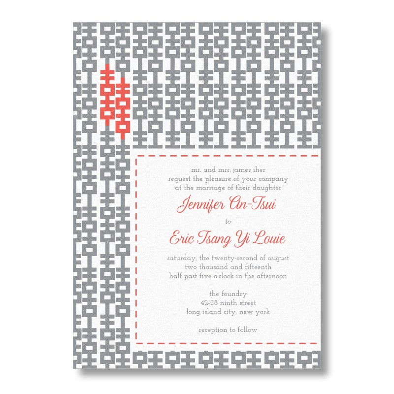 Modern Double Happiness Chinese Wedding Invitations From MarryMoment