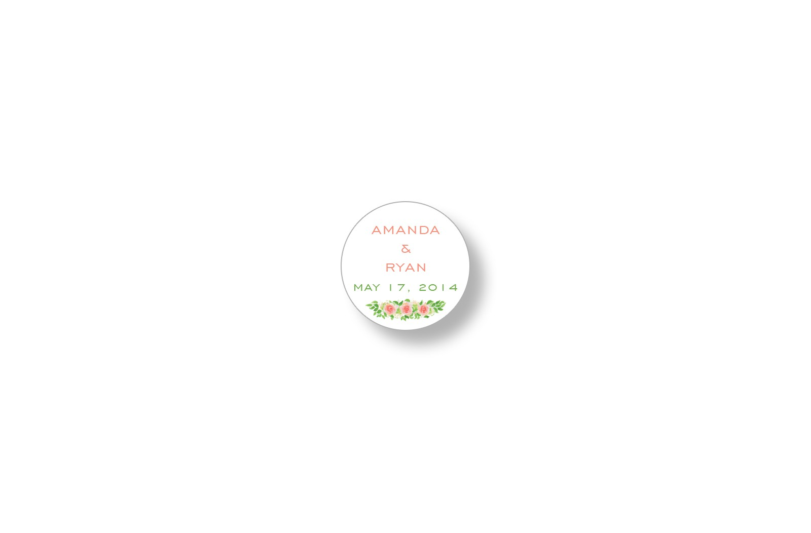 garden roses round personalized stickers