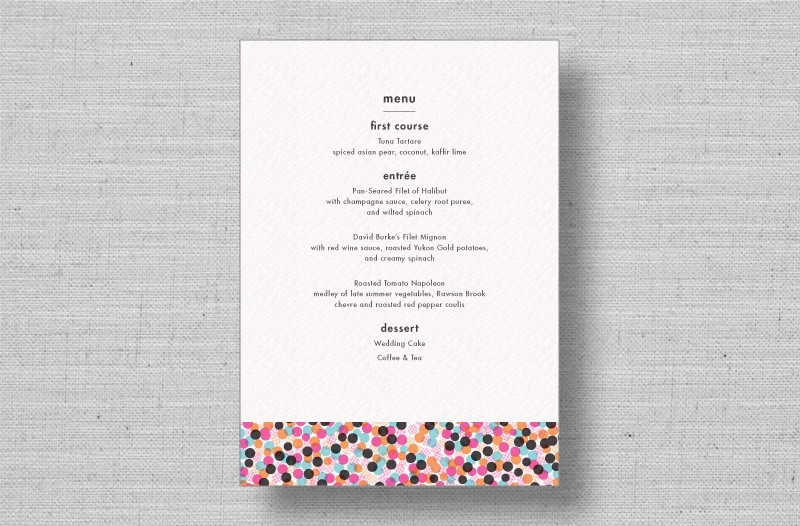 chic modern reception menu cards