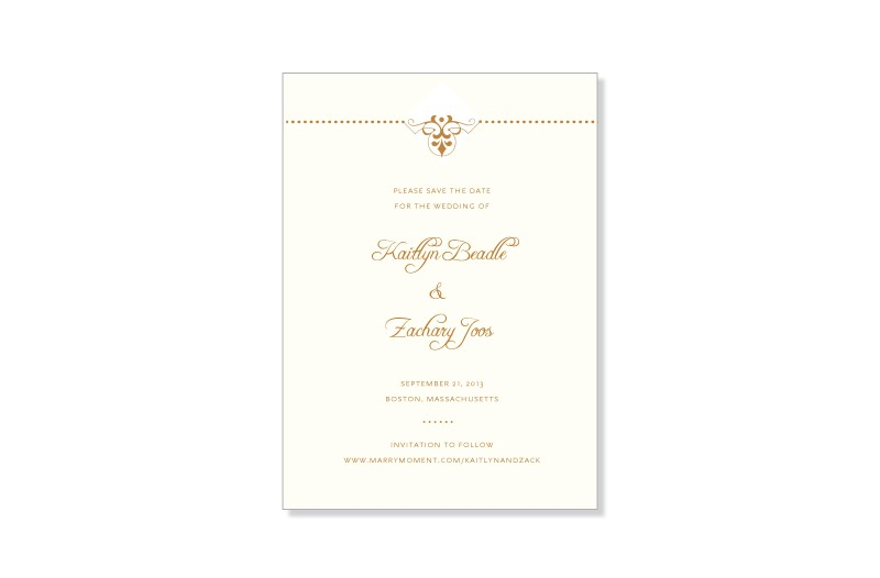 Fleur de lis thermography save the date cards
