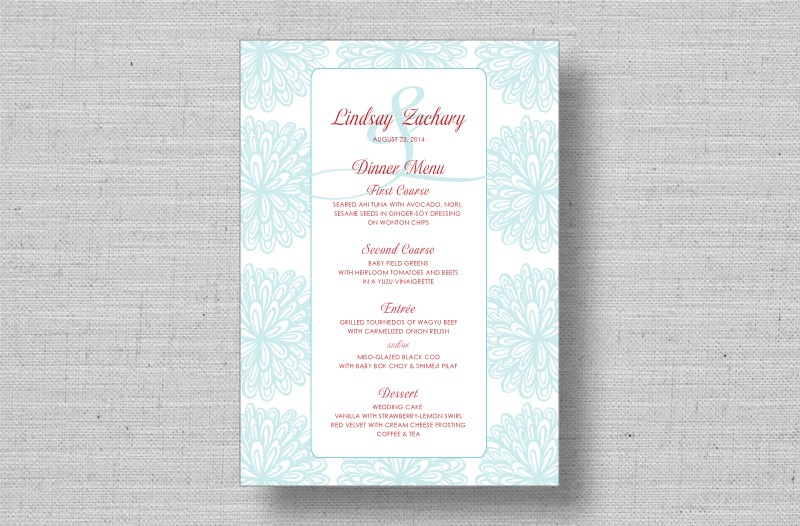 floral wedding reception menu cards