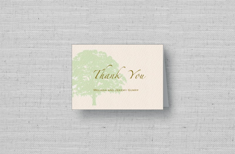 oak tree thank you cards - sage