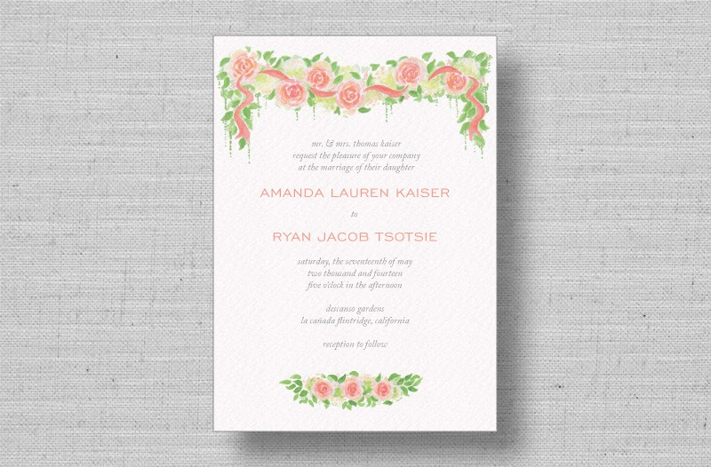 watercolor roses wedding invitations