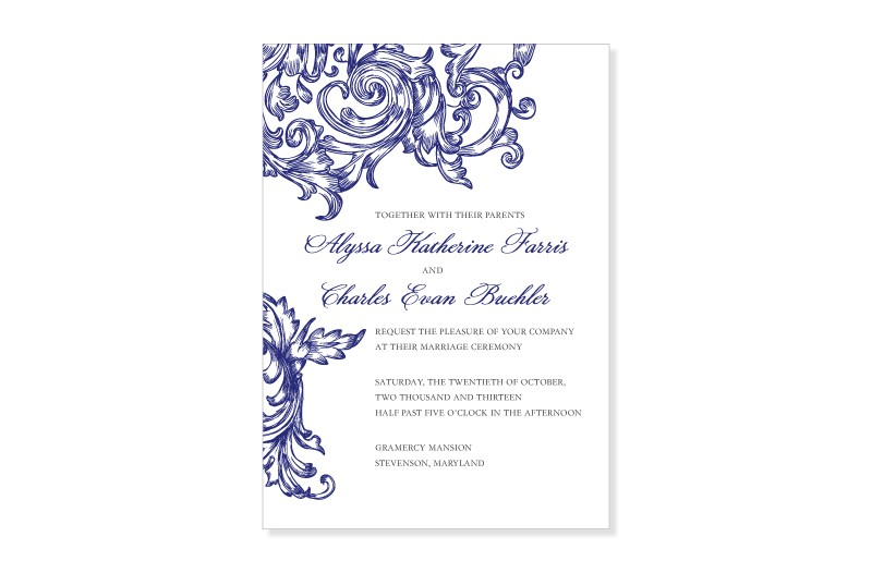 ornamental swirl wedding invitation and response card set from marry