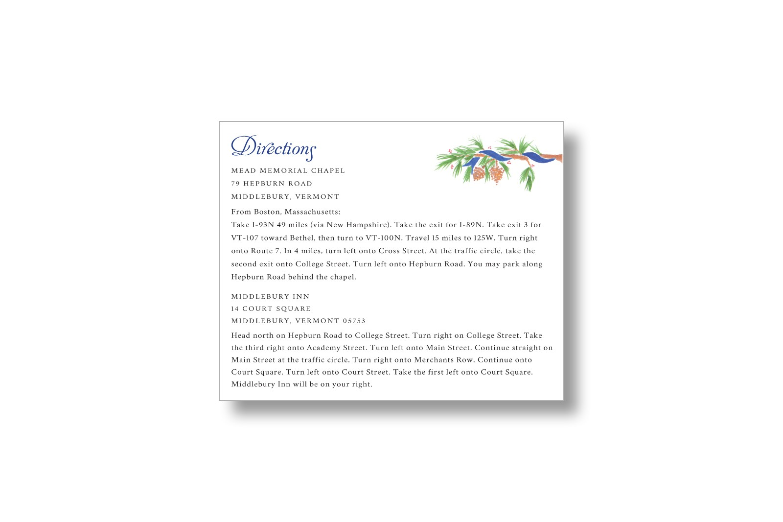 watercolor pine wedding information cards