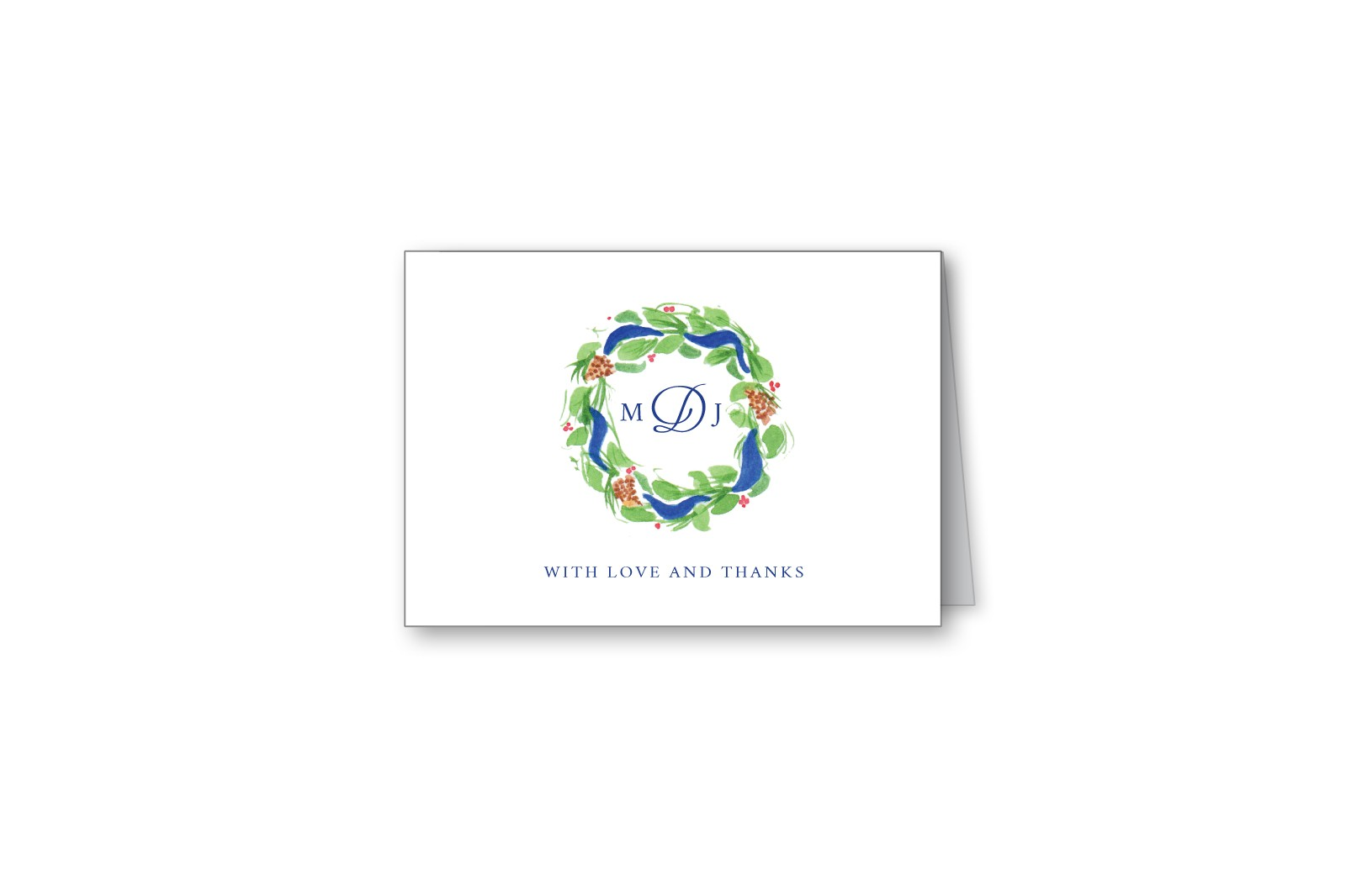 Brushed Pine Wedding Thank You Cards from MarryMoment – Monogram Wedding Thank You Cards