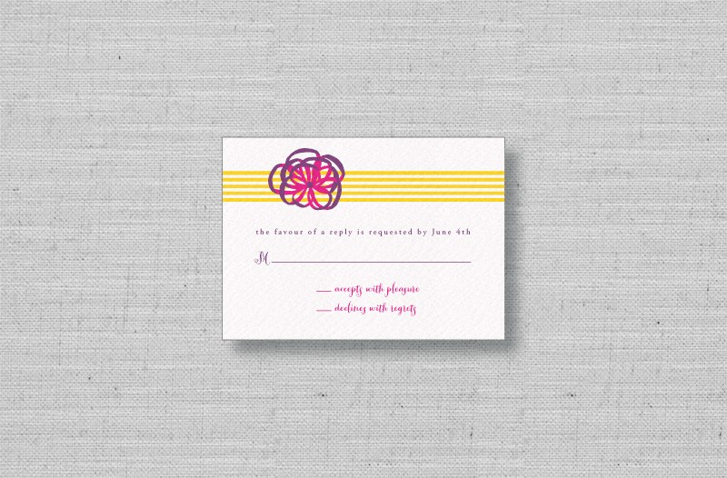 yellow purple ribbon wedding response cards