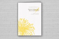 modern yellow flower wedding ceremony programs