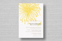 bright yellow flower modern wedding invitations