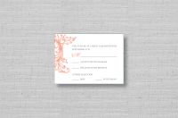 Ornamental Swirl vintage floral wedding response card - coral