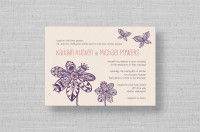 Lace Flowers purple butterfly wedding invitations