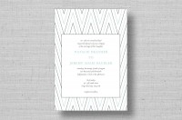 modern blue and gray striped wedding invitations