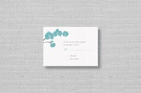 Modern orchids wedding rsvp card-aqua