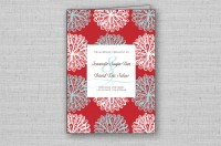 red floral wedding ceremony programs