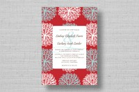 red and aqua floral wedding invitations