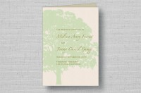 oak tree wedding program cover-sage
