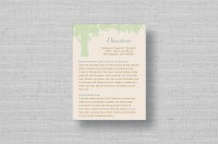 oak tree wedding information card - sage