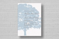 blue oak tree wedding invitations