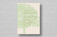 oak tree wedding invitation-green
