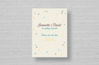 confetti rustic wedding save the dates