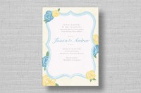 yellow blue floral wedding invitations