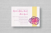 bright purple ribbon wedding invitation